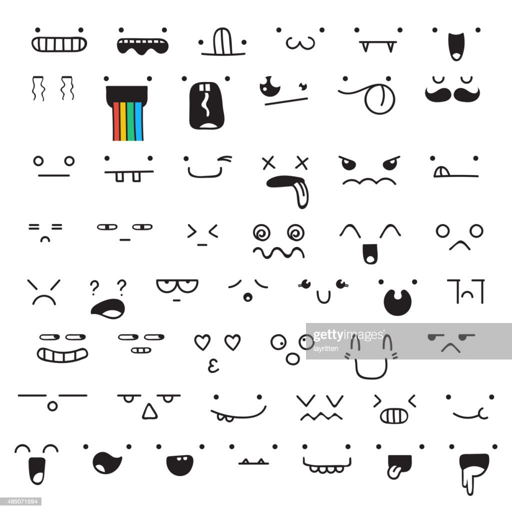 Set of 50 different pieces doddle emotions to create characters