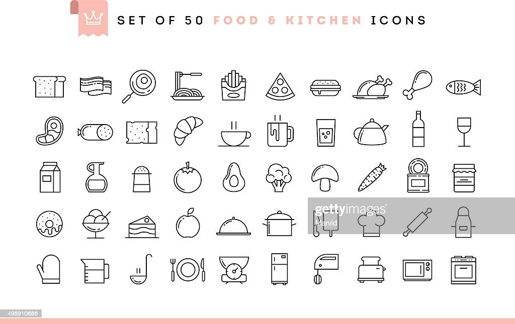 Set of 50 food and kitchen icons, thin line style