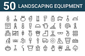 set landscaping equipment icons outline thin