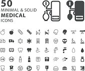 Set of 50 Medical Minimal and Solid Icons