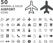 Set of 50 Minimal and Solid Airport Icons on White Background