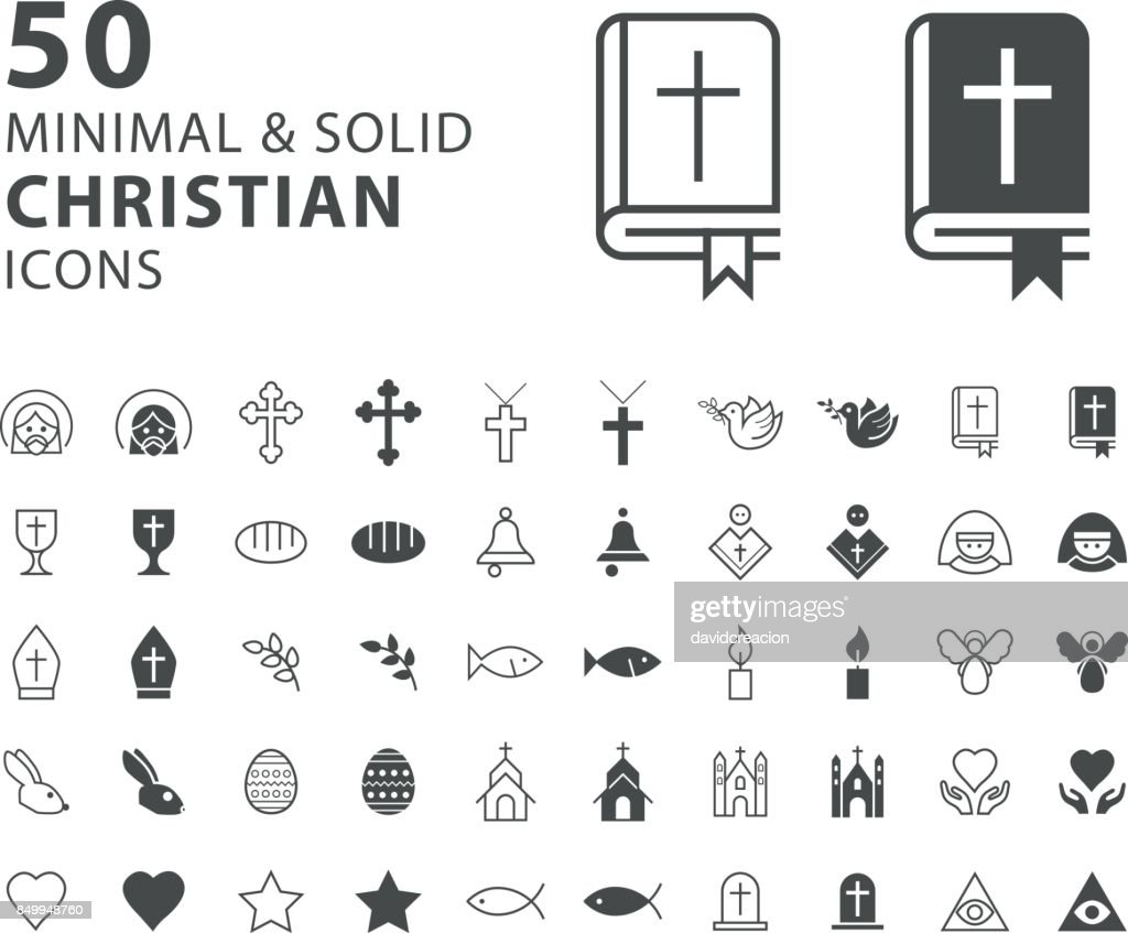 Set of 50 Minimal and Solid Christian Icons on White Background