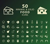 Set of 50 Minimal and Solid Food Icons.