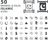 Set of 50 Minimal and Solid Islamic Icons on White Background