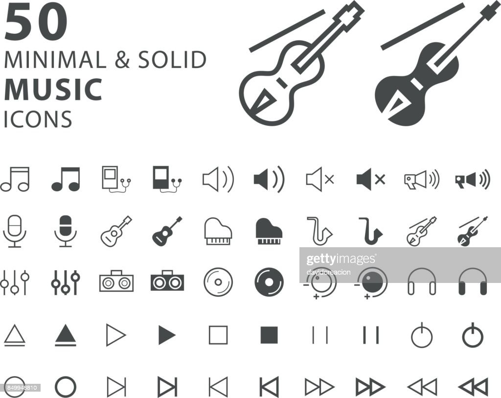 Set of 50 Minimal and Solid Music Icons on White Background