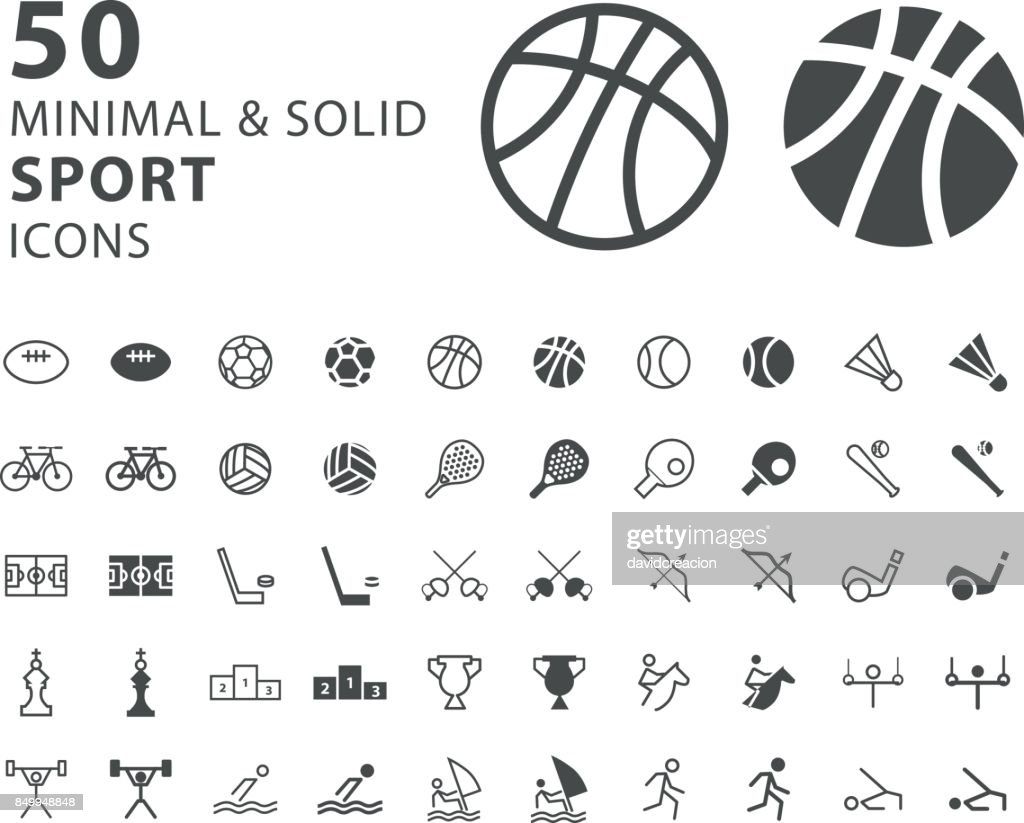 Set of 50 Minimal and Solid Sport Icons on White Background