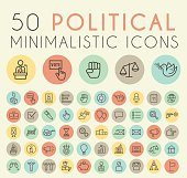 Set of 50 Minimal Simple Thin Line Political Icons.