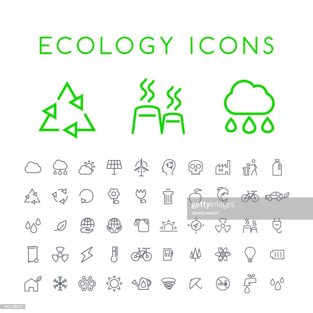 Set of 50 Minimal Thin Line Ecology Icons on White Background . Isolated Vector Elements