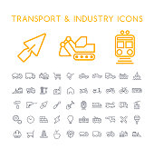 Set of 50 Minimal Thin Line Industry and Transport Icons on White Background . Isolated Vector Elements