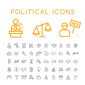 Set of 50 Minimal Thin Line Political Icons on White Background . Isolated Vector Elements