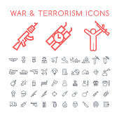 Set of 50 Minimal Thin Line War and Terrorism Icons on White Background . Isolated Vector Elements