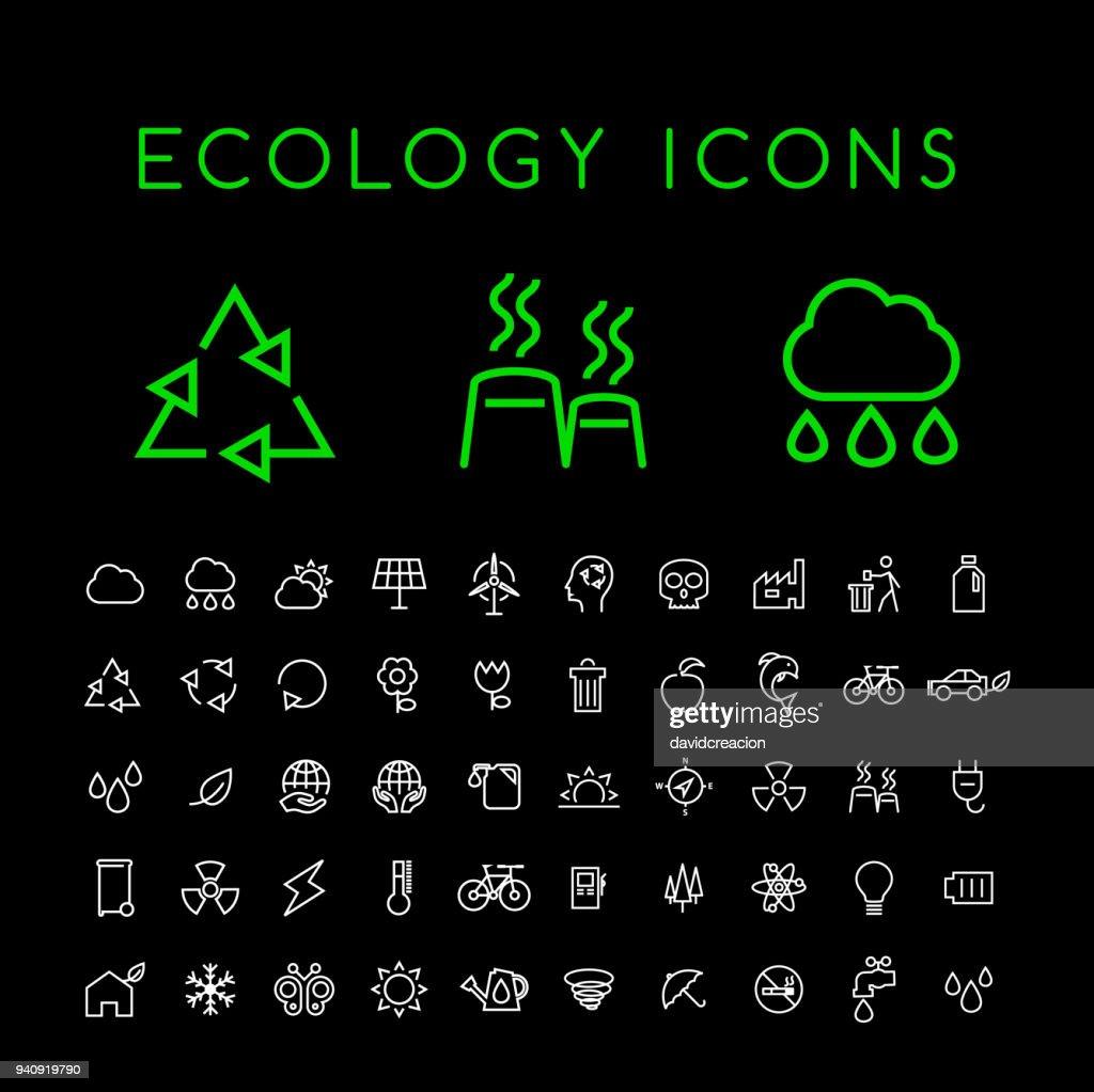 Set of 50 Minimal Thin Line White Ecology Icons on Black Background . Isolated Vector Elements