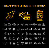 Set of 50 Minimal Thin Line White Industry and Transport Icons on Black Background . Isolated Vector Elements
