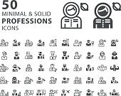 Set of 50 Professions Minimal and Solid Icons on White Background