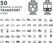 Set of 50 Transport Minimal and Solid Icons on White Background