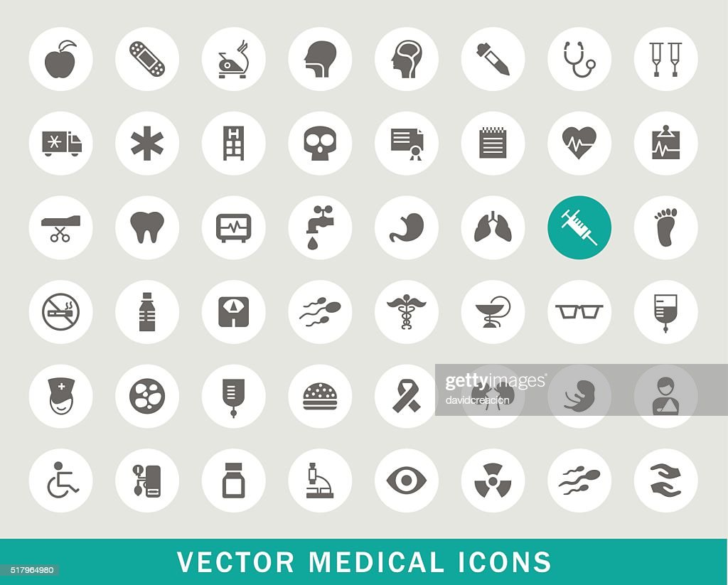 Set of 50 Universal Medical Icons.