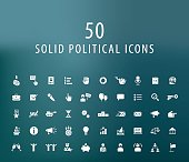 Set of 50 Universal Solid Political Icons.