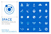 Set of 50 Universal Space Icons on Color Background . Isolated Vector Elements