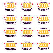 Set of 500, 1000, 2000, 3000, 4000, 5000, 6000, 7000, 8000, 9000, 10000, 20000 followers. Vector icon design illustration on white background.