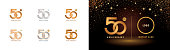 Set of 50th Anniversary logotype design, Fifty years anniversary celebration