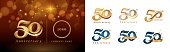 Set of 50th Anniversary logotype design, Fifty years Celebrating Anniversary Logo