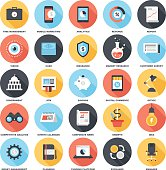 Set of 5x5 colorful business & finance icons on white