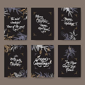 Set of 6 A4 format Christmas greeting cards with mistletoe, pine branches and holiday brush lettering.
