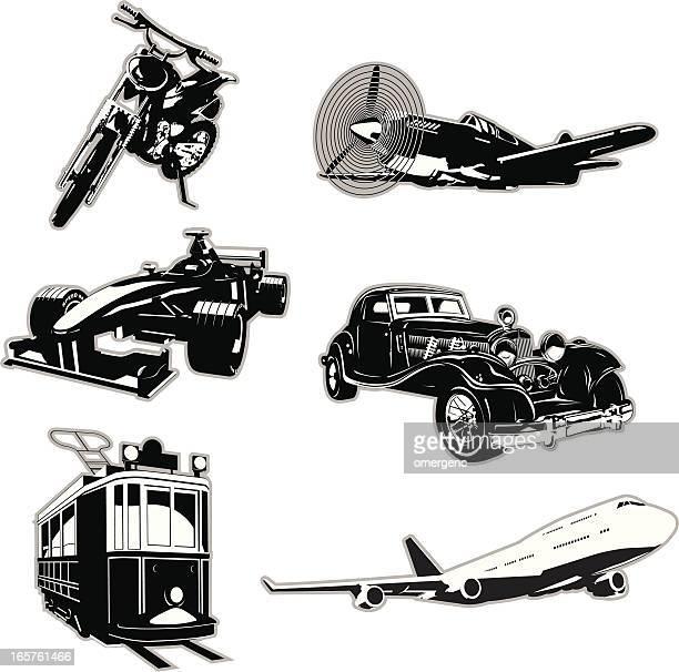 set of 6 black vehicle icons on white background - formula one racing stock illustrations, clip art, cartoons, & icons