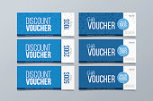 Set of 6 blue geometric banner background. Gift and discount voucher design template.