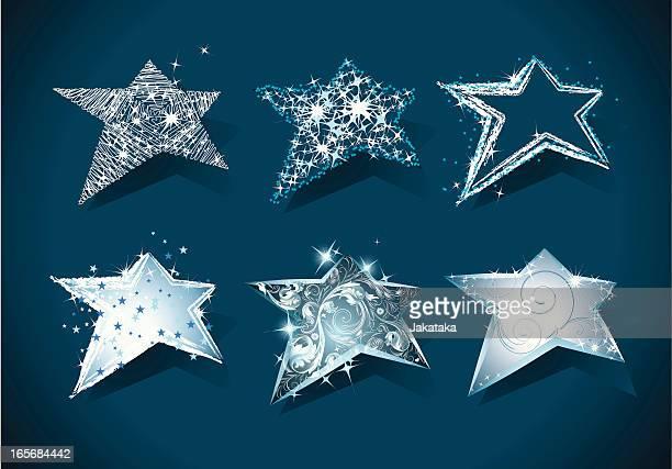 ilustrações de stock, clip art, desenhos animados e ícones de conjunto de 6 natal estrelas. - estrelas de natal