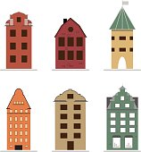 Set of 6 color scandinavian houses in flat style.