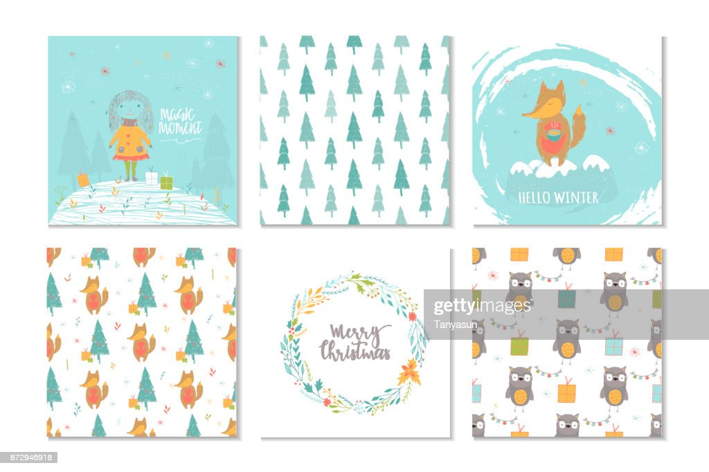 Set of 6 cute Christmas gift cards with lettering Merry Christma