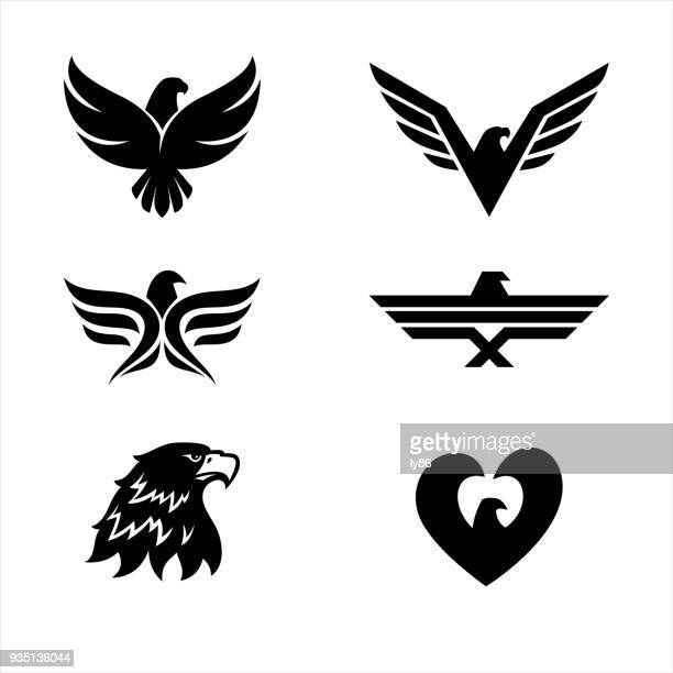 illustrazioni stock, clip art, cartoni animati e icone di tendenza di set of 6 eagles - aquila