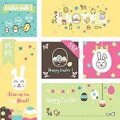 Set of 6 Easter greeting card and sale banners.