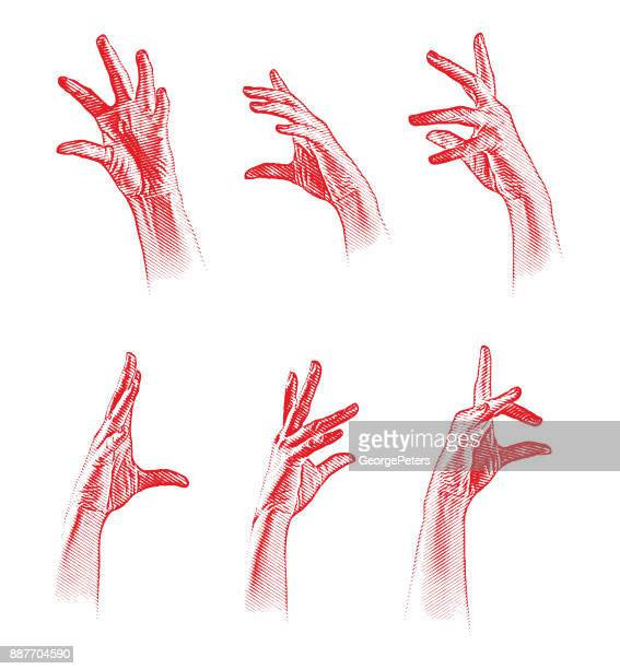 set of 6 engraved hand gestures. grouped separately. - wrist stock illustrations, clip art, cartoons, & icons