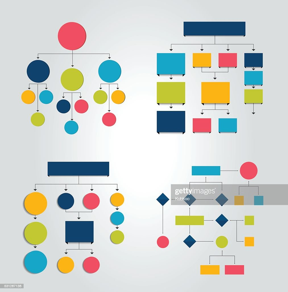 Set of 6 flow charts schemes, diagrams. Simply color editable.