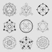 Set of 6 geometrical elements.