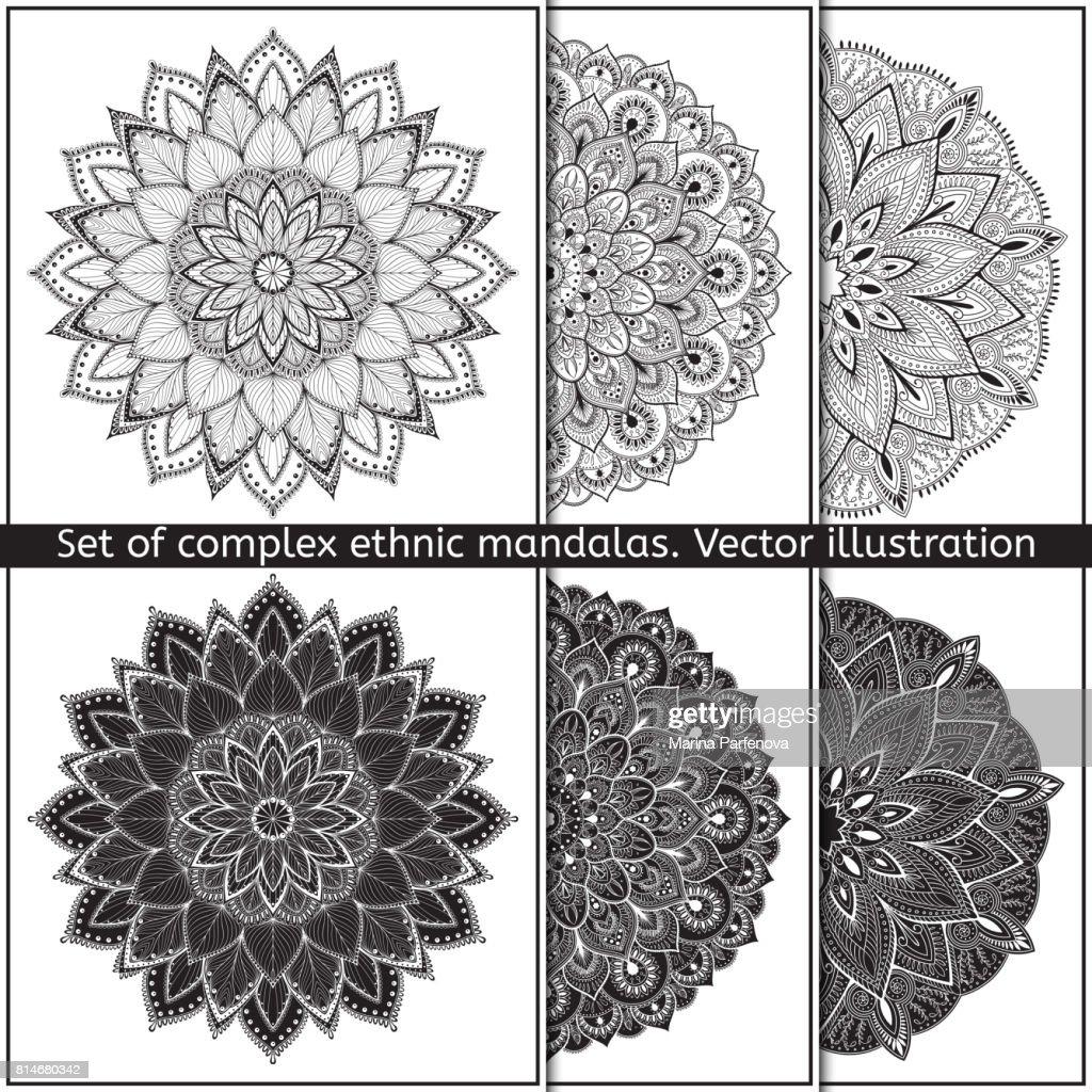 Set of 6 hand-drawn vector mandala on white background. Contour mandala symbols for coloring page.