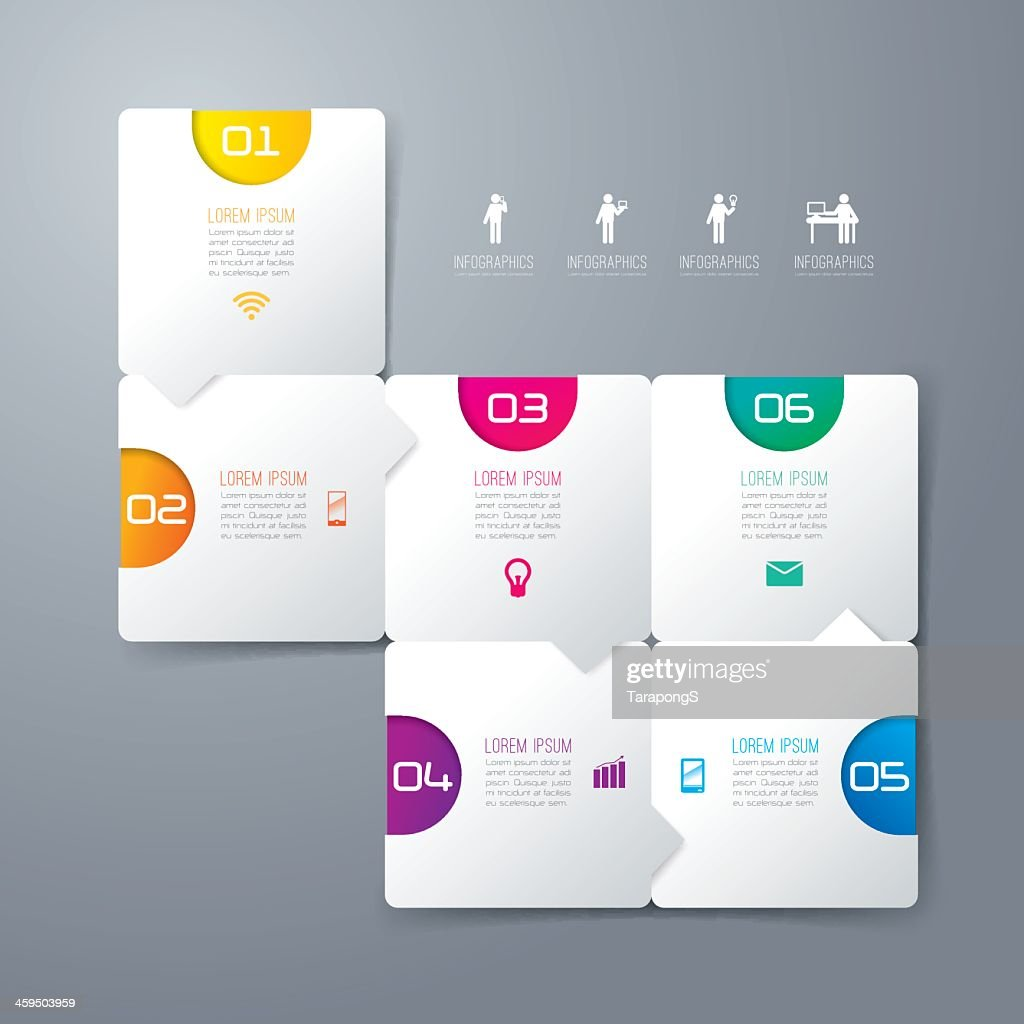 Set of 6 numbered square infographics on gray