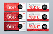 Set of 6 red geometric banner background. Gift and discount voucher design template.