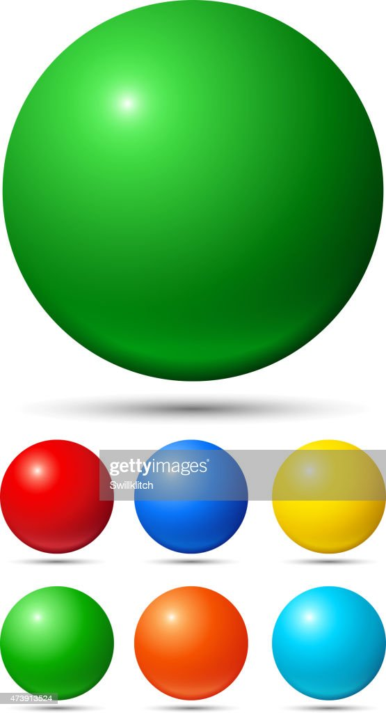 A set of 6 small balls & 1 large ball, in multiple colors