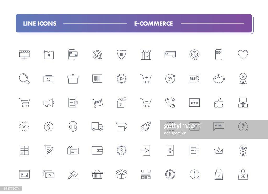 Set of 60 line icons. E-commerce