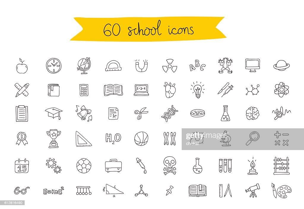 Set of 60 school icons