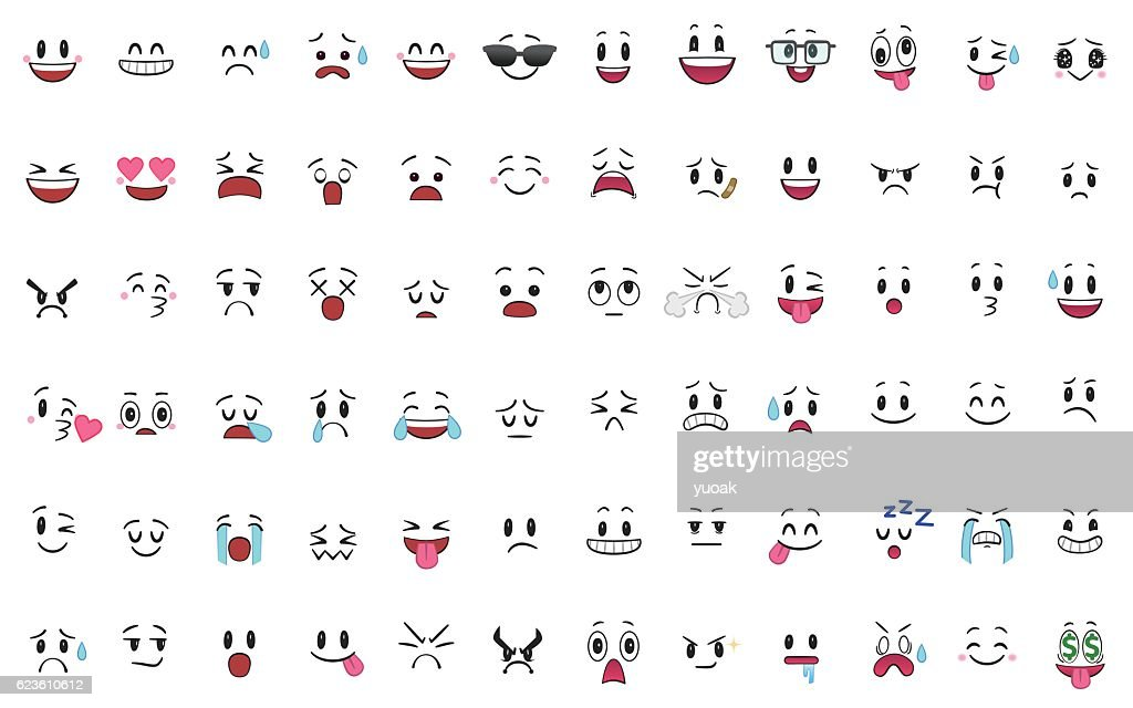72種類の感情のセット : ストックイラストレーション