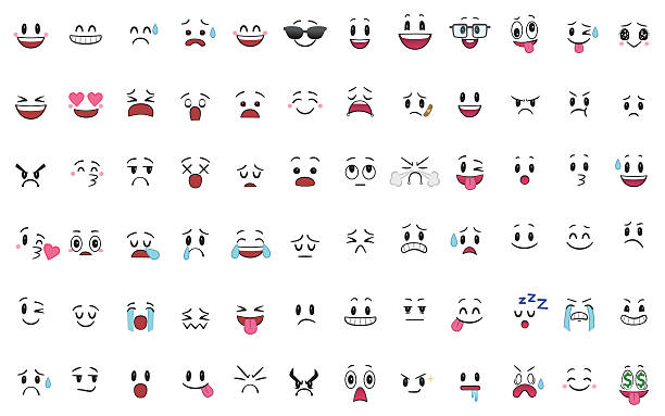 set of 72 different pieces of emotions - cartoon stock illustrations