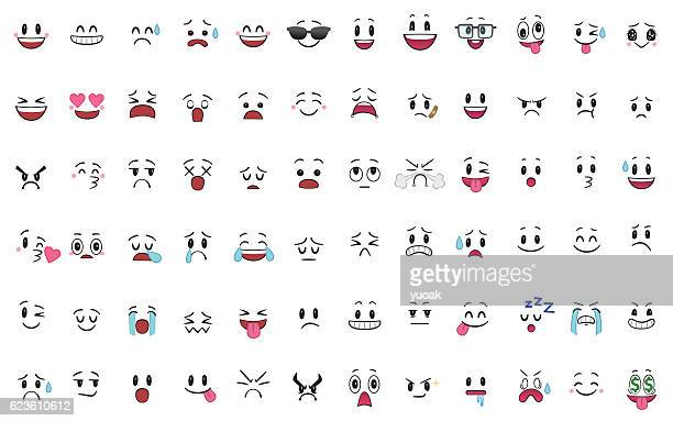 set of 72 different pieces of emotions - laughing stock illustrations, clip art, cartoons, & icons