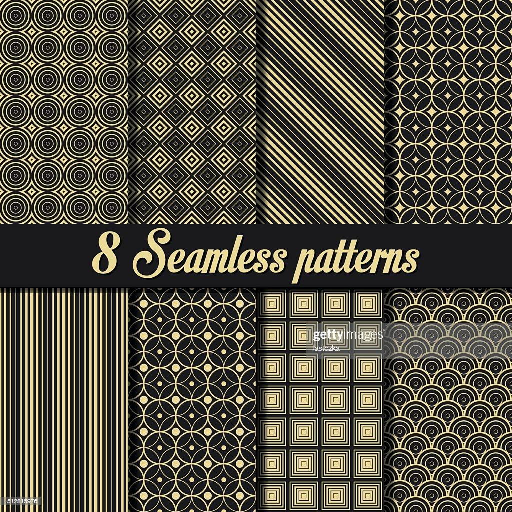 Set of 8 Vintage seamless golden patterns
