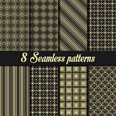 Set of 8 Vintage seamless golden patterns