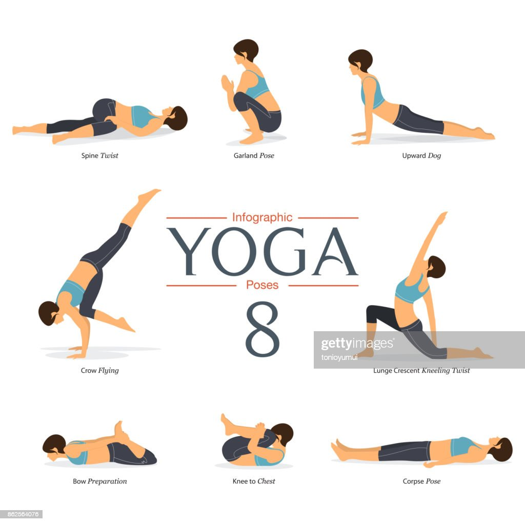 Set of 8 yoga poses in flat design . Woman figures exercise in blue sportswear and black yoga pant for yoga infographics. Vector