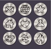 Set of 9 assorted metal button icons